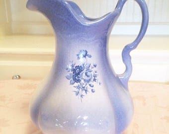 IronStone Pottery Blue Purple Pitcher Blue Lace Edges. Elegant Floral Leaf Decor Beautiful Room Decoration. Old Ironstone