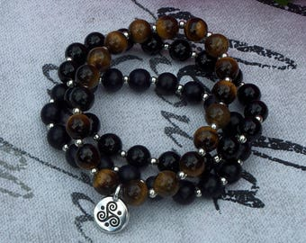 Protection, Balance, Strength - Tigers Eye, Black Wooden Beads, & Agate Gemstone Triple Spiral Bracelet Trio
