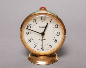 Vintage small mechanical alarm clock Slava, in working condition
