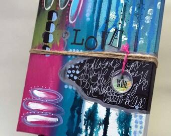 "Love & Wander; Original Abstract; 8"" x 10"" Canvas"