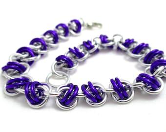 Purple Barrels Chainmaille Bracelet - Purple Chain Maille Bracelet - Chain Bracelet