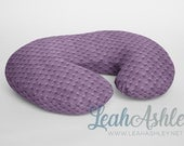 Minky Boppy® Pillow Cover - Violet Minky Dot OR Choose from 42 Solid Colors - BC0 - (aka: Plum)
