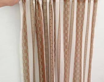 Boho vintage curtains, 1970's boho curtains, Boho home decor, two sheer curtain panels, Brown striped polyester curtains, vintage home decor