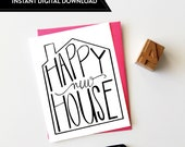 New Home Card, Housewarming Card, Realtor Card, Greeting Card, Hand Lettered Card, New Place Card, Home Sweet Home, INSTANT DIGITAL DOWNLOAD