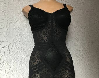 Vintage Black Lace Corselet All-in-One sexy 34 D