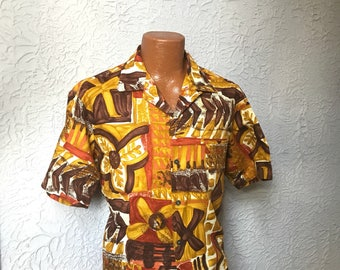 50's Vintage Men's Tiki Hawaiian Shirt Barkcloth XL large