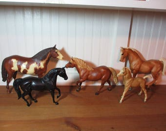 5 Vintage Breyer Horses, Palomino Arabian Stallion, Paint Stallion Stud, Pinto, Chestnut, Raven Black Morgan, See Description