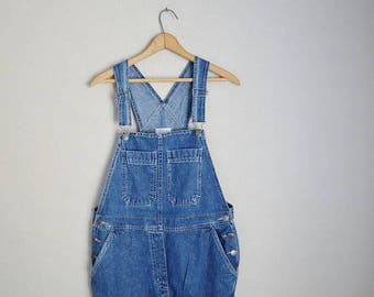 Summer SALE - 20% off - vintage 90s denim jean bib overalls pants dark wash dungarees-- womens oversize medium