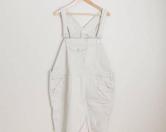 Summer SALE - 20% off - Vintage 90s Tan Cherokee Shortall Overall Shorts Dungaree Shorts // womens xxxl - size 24 womens