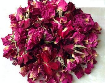 1lb Organic ROSE PETALS & BUDS Bulk Dried Wedding Flower Ecofriendly Biodegradable Toss Sachet Shower Favor Pink Red