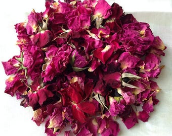10 Cups Organic DRIED ROSE PETALS, Dried Rose Buds, Dried Wedding Flower Toss, Biodegradable Confetti, Pink Rose Petal Red Ecofriendly