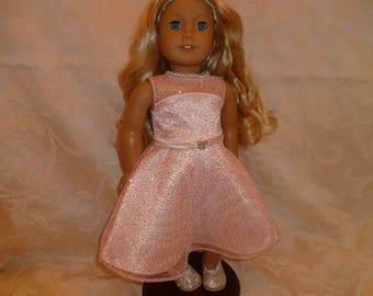 18 Inch Doll Glittery Pink and Peach Satin Summer Party Dress and Pink Roses Hair Clip for American Girl Dolls