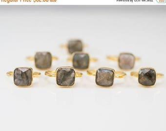 40 OFF - Labradorite Ring - Statement Ring - Gemstone Ring - Gold Ring - Stackable rings - Bezel Set Ring - Cushion Cut Ring