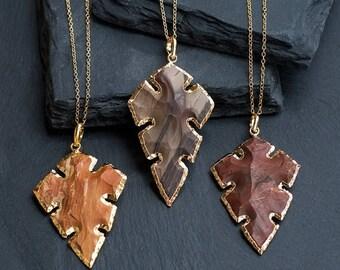 40 OFF - Jasper Arrowhead Pendant - Arrowhead Necklace - Tribal Arrowhead - Layering Necklace - Bohemian - Boho Hippie Chic Necklace