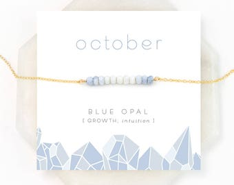Ombre Blue Opal Necklace, October Birthstone, Natural Opal, Birthday Gift, Bar Necklace, Dainty Necklace, Beaded Bar, Pastel Spring Necklace