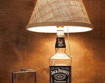 Jack Daniel's Glass Whiskey Bottle Lamp Free US Shipping