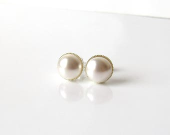 Pearl Stud Earrings, White or Ivory Pearl, 8MM Pearl Stud Earrings, Pearl Ball Stud, Bridal Earrings, Bridesmaid Earrings, Wedding Jewelry