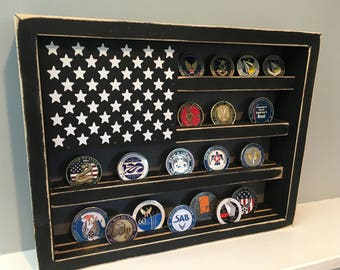 """12"""" x 15"""" - 25 Coin Military Challenge Coin Display Case Holder US Flag Retirement Gift Army Navy Air Force Marines Coast Guard Veteran"""