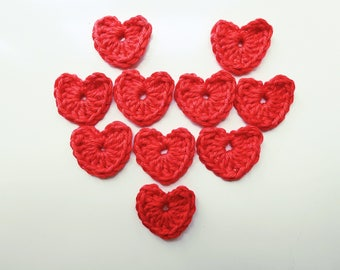 crochet hearts, set of 10 red crochet hearts, crochet embellishments, hearts for card making, FREE UK Postage