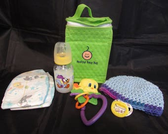 Reborn baby Complete Grab and Go Diaper bag doll milk bottle rattle magnetic pacifier diapers baby hat