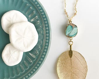Long Gold Leaf and Turquoise Stone Necklace with Moonstone Beaded Chain. Pendant Necklace. Druzy Necklace. Boho Necklace. Jewelry. Gift.