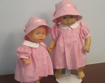 Pretty Pink Baby Doll Dress with Matching Bonnet  in Two Sizes 12-14 inch and 15-18 Inch/fits American Girl Bitty Baby Doll Clothes - BETTY
