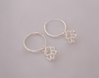 Paw charms sterling silver hoops, 12mm hoop earrings