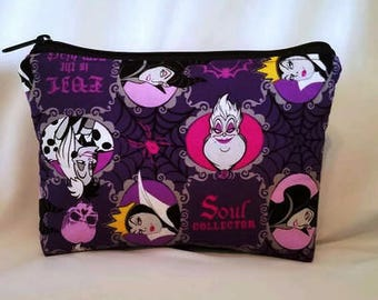 READY TO SHIP//Disney Villains//Large zipper Cosmetic/accessory Pouch