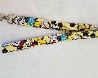Fabric Lanyard-Mickey and Minnie Mouse