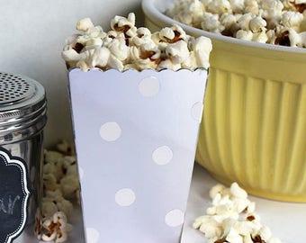 GLAMSALE Mini Silver Popcorn Boxes, Blue Party Favor Boxes, Wedding Favor Boxes