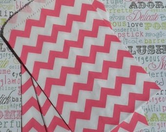 GLAMSALE 50 Hot Pink Chevron Party Bags, Pink Wedding Favor Bags, Pink Gift Bags, Pink Treat Bags, Pink Party Favor Bags, Pink Candy Bags