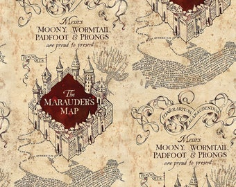 Camelot Fabrics. Harry Potter. Marauders Map - BTY - Cotton Fabric - Choose Your Cut
