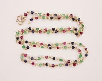 10K Yellow Gold 26 Inch Multi-Stone Ruby, Sapphire and Emerald Necklace (9.9grams)