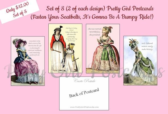 Set of 8 Pretty Girl Postcards Feminist Politics Fasten Your Seatbelts It's Gonna Be A Bumpy Ride Funny Postcards Funny Quotes Funny Saying
