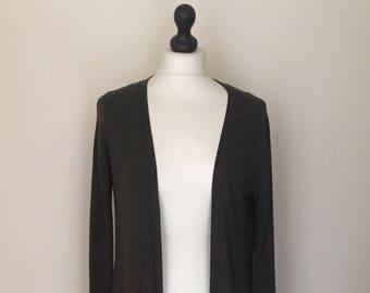 vintage green long duster cardigan WOMENS 12-14