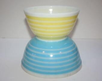 Two 2 Vintage Pyrex Stripe Mixing Bowls #402 Yellow & #403 Blue