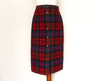 Vintage Plaid Skirt / Tartan Checkered / Red Blue / Wool Skirt / High Waisted / Buttoned / Pencil Wiggle / Fall Winter / Midi / small medium