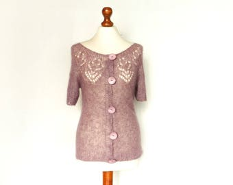 Vintage Sweater Top Blouse / Pink Heather Pastel Violet / Short Sleeve / Buttoned / Hand Made / Hand Knit / Kniwear / small medium