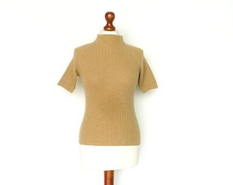 Vintage Turtleneck Sweater Shortsleeve / Beige Light Brown / Rib Knit / small