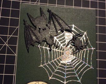 Trick or Treat Halloween card, handmade greeting card, black sparkly bat and spider with silver web, green background