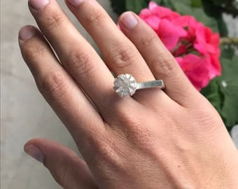 silver flower ring - flat silver ring with flower - ring size 6 - birthday present