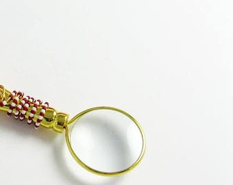Magnifying Glass Ornament - Brass Holiday Decor with Beaded Candy Cane Stripe for Mystery Book Readers, Librarians, Seekers of Life