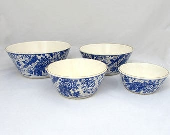 Vintage Waechtersbach bowl set, 4 pc Blue and White, Western Germany - 1950s-60s