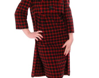SAVE 20% Gorgeous Vintage Galanos Sheath Dress/ Unique Coat Red/Green Wool Plaid Early 1960s  Small