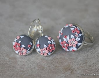 Lovely Polymer Clay Applique Statement Earrings and Ring Set