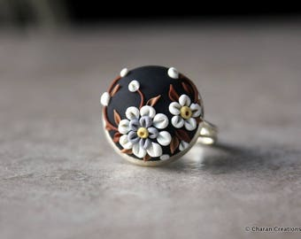 Beautiful Polymer Clay Applique Statement Ring in Black and White