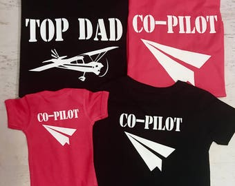 Top Dad and Co-Pilots Silver Metallic Style Aviator Sunglasses on Front Pilot and Co-Pilot with Planes and Paper Airplane on Back