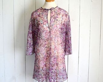 34% Off Sale - Floral Cover Up Tunic - 1970s Bell Sleeve Top - Sheer Mini Dress - Vintage Beach CoverUp - Large L