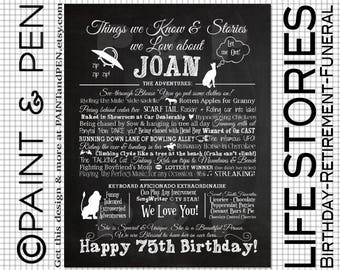 Custom Birthday Poster- Things We Love About You- Family Stories- Stories About You- Adult Birthday Party Decor - A Gift to Show Affection