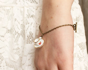 Tea Cup Bracelet - Tea Cup Jewelry - Coffee Cup bracelet - Coffee Cup jewelry - Whimsical Bracelet - Whimsical Jewelry - Strawberry Jewelry